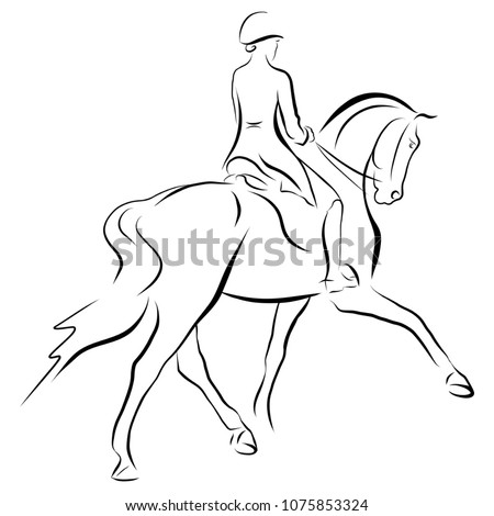 a sketch of a dressage rider on