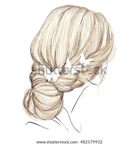 a sketch of a fashion hairstyle