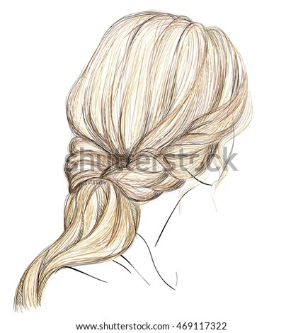 a sketch of a female hairstyle