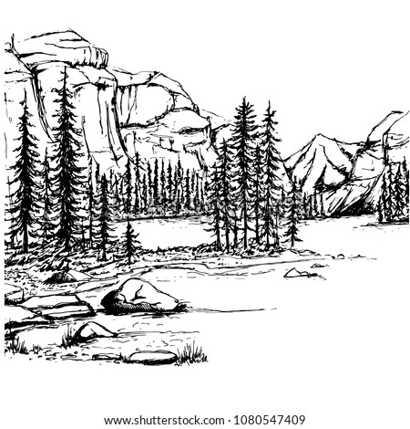 a sketch of a lake and a forest