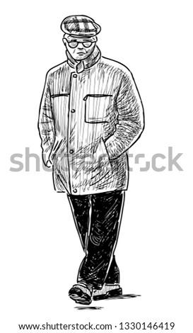 A sketch of an elderly city dweller going down the street