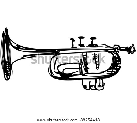 a sketch of copper Cornet Musical Instrument