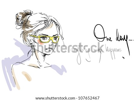 a sketch of the young woman in
