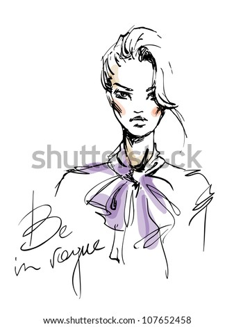 A sketch of the young woman with a bow. Fashion illustration