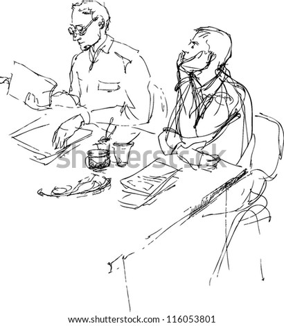 a sketch of two young men is in an office