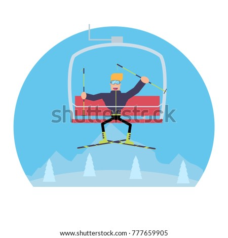 A skier rides a ski lift. Vector image of mountains in the background.