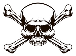 A skull and cross bones drawing like a pirates jolly roger or danger sign