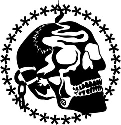 A skull is smoking a cigar. Smoke is floating through his face. He is also wearing a ear chain. These all are in one golden color.