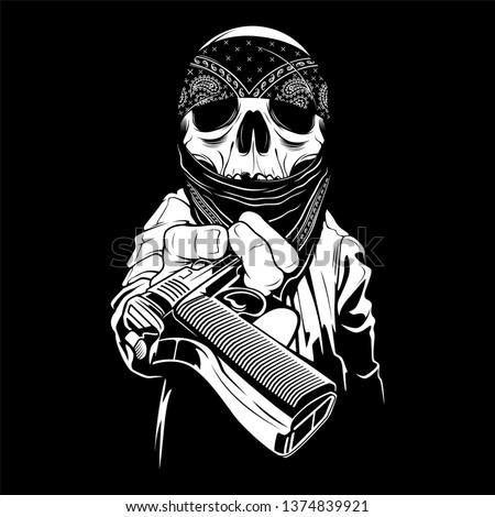 a skull wearing a bandana hands over a gun,vector