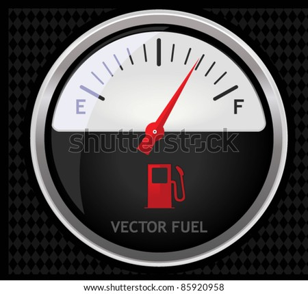 A sleek illustration of a classical fuel meter isolated on black