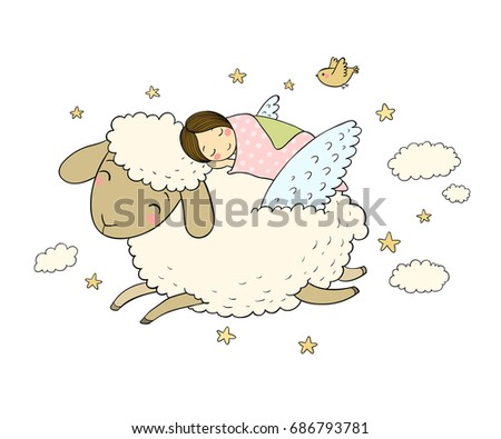 a sleeping girl and a sheep