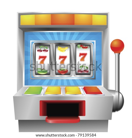 A slot or fruit machine illustration on white background