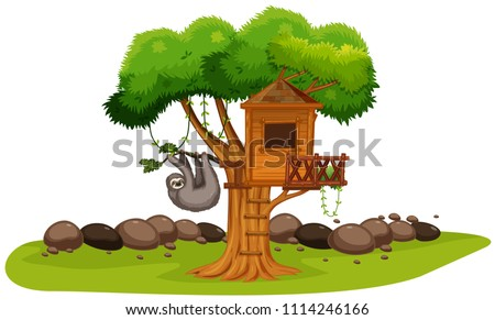 A Sloth at the Tree House illustration