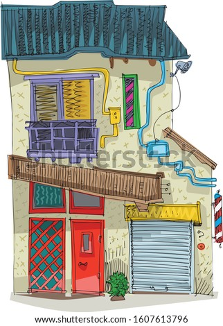 A slum poor residential overpopulated house built from garbage and occasional materials. Cartoon. Caricature.