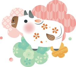 A small cute white cow with flowers and Japanese patterns in the background.