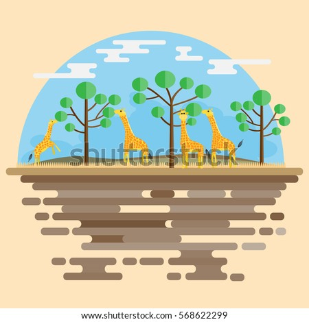 A small group of giraffe are eating tree leaf in Savanna flat scene background vector design.