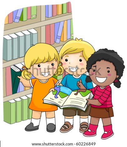 A Small Group of Kids Checking Books in the Library - Vector - stock vector