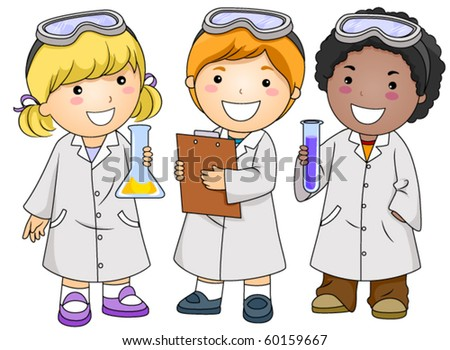 A Small Group of Kids in Laboratory Gowns - Vector