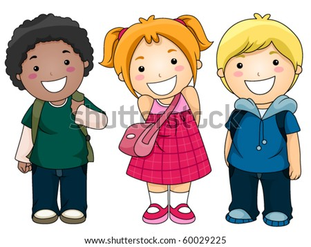 A Small Group of Kids Ready to Go to School - Vector