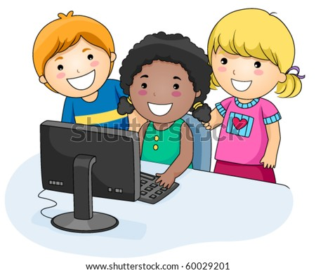A Small Group of Kids Using a Computer - Vector