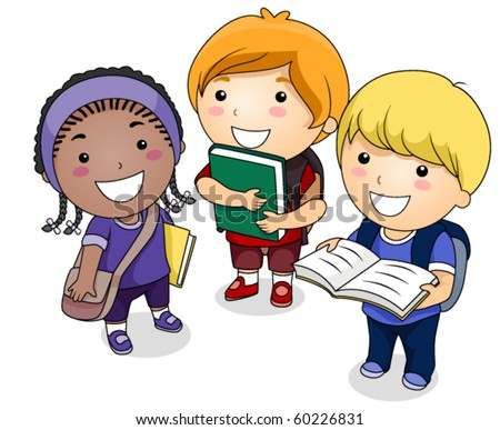A Small Group of Students - Vector - stock vector