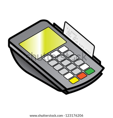 A small hand-held point of sale pin pad / terminal with a card in the swipe slot.