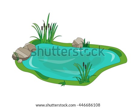 A small lake with  tree for landscaping. Vector illustration.