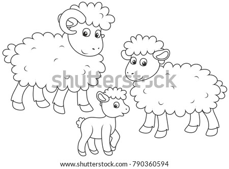 Stock Photo A small lamb, a sheep and a ram, a black and white vector illustration in cartoon style for a coloring book