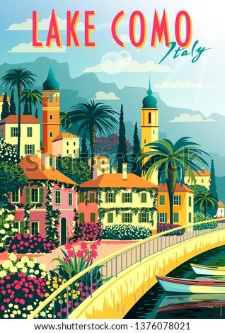 A small town on the shores of lake Como on a sunny summer day. Handmade drawing vector illustration. Retro poster. Can be used for posters, banners, postcards, books & etc.