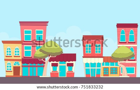 A small town street with shops. Flat design. Vector illustration