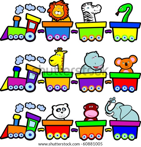A small train carries lots of animals smiling, vector