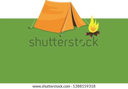 A small yellow-colored tent summer camping and an open-air fire that serves as a recreational site during summer holidays  vector  color drawing or illustration