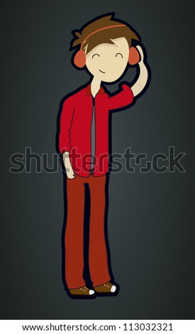 A Smart teenager boy listening to the music(Vector EPS10)