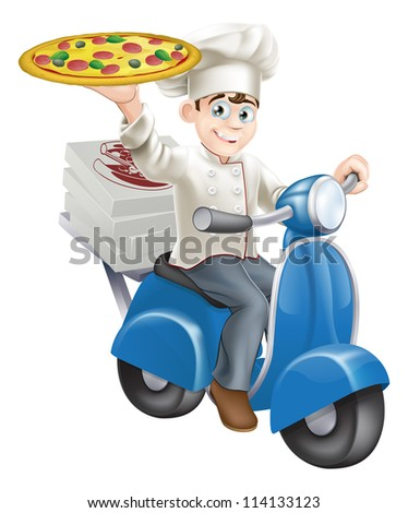 A smartly dressed pizza chef in his chef whites delivering pizza on his moped.