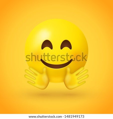 A smiling face emoji with smiling eyes, rosy cheeks, and with open hands, as if giving a hug on yellow background - emoticon showing a true sense of happiness