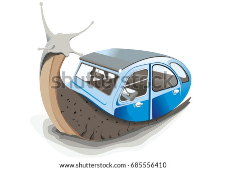 a snail with his car