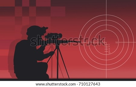 a sniper with a gun on a red