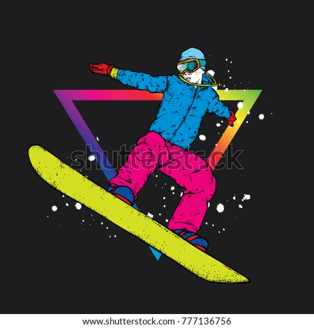a snowboarder in colorful