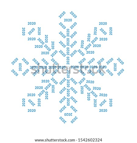 A snowflake formed from the numbers 2020. New Year. Vector format. Template for layout.
