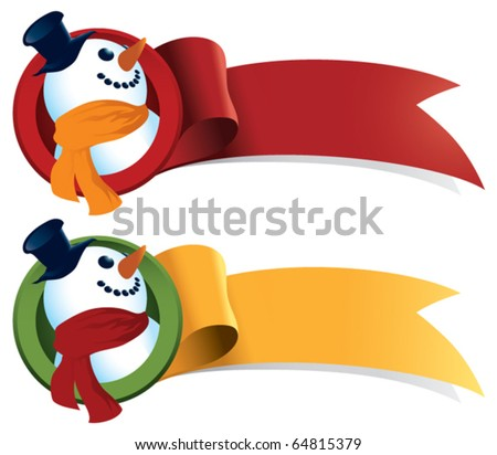 A snowman Christmas ribbon. Just add text and it's perfect for tags, web banners, holiday greetings and stickers.