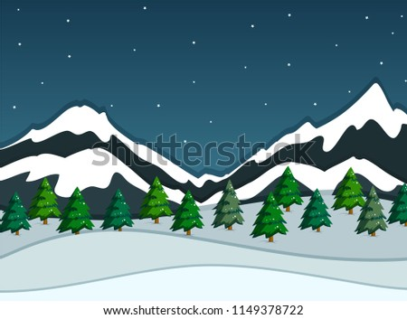 A snowy mountain landscape illustration