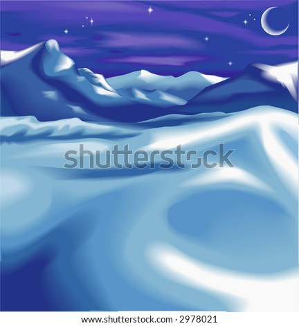 A snowy night time winter scene,  Beautiful snowy night time winter landscape scene, with the moon and stars. No meshes used.