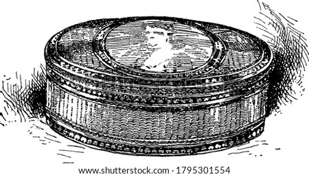 A snuff box with encrusted enamel and an enamel portrait, for holding snuff, especially one small enough to be carried in the pocket, as in the eighteenth century, whether of good will or ceremony, Сток-фото ©
