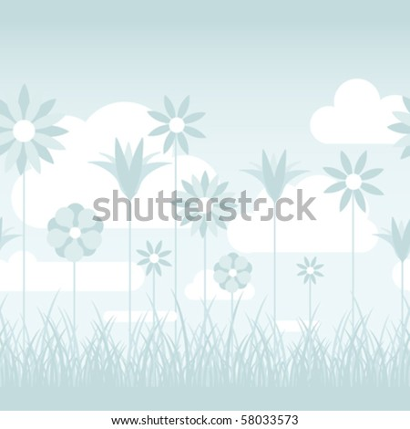 stock-vector-a-soft-blue-illustration-featuring-flowers-on-stems-in-a-grassy-field-seamlessly-repeatable