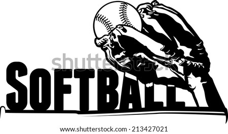 a softball being caught over the word softball.