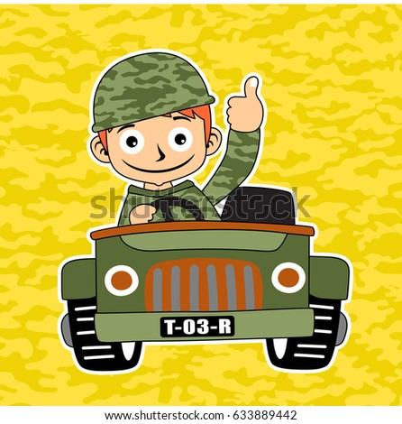 a soldier drive military jeep