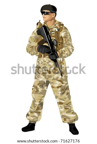 A soldier in camouflage holding a rifle. Highly detailed images.