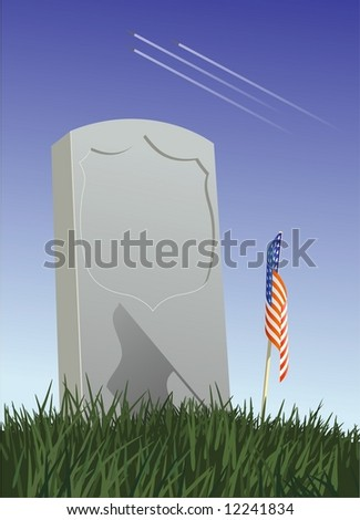 A soldier's tombstone. An American flag is place on the grave. Three fighter jets fly overhead.