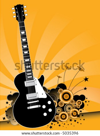 A solid body electric guitar is centerpiece to this grunge music background