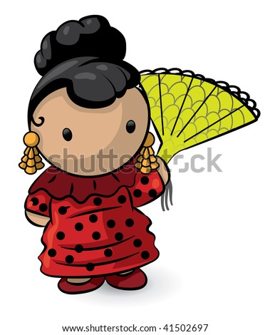 Red dress holding a fan cute her name is margarita stock vector